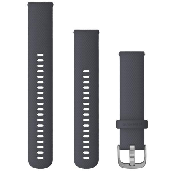 Garmin Schnell-Wechsel Silikon Armband 20mm Granitblau / Schnalle Silber + Einstellband L bei CardioZone online kaufen