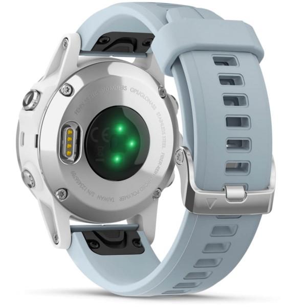 Garmin fenix5S Plus Weiß GPS Multisportuhr mit Seafoam Armband in pastellblau bei CardioZone guenstig online kaufen