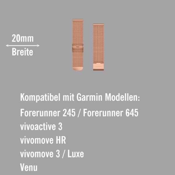 Garmin Schnell-Wechsel Milanaise Armband 20mm Rosegold / Rosegold 18K-Gold-PVD-Teile bei CardioZone online kaufen