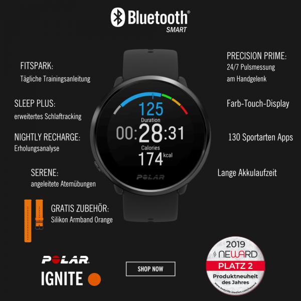 POLAR Ignite GPS Fitness Sportuhr in Schwarz mit Wechselarmband Orange bei CardioZone günstig online kaufen