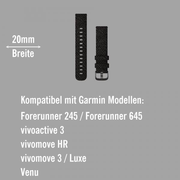 Garmin Schnell-Wechsel Nylon Armband 20mm Grau gewebt / Teile Schiefergrau bei CardioZone online kaufen