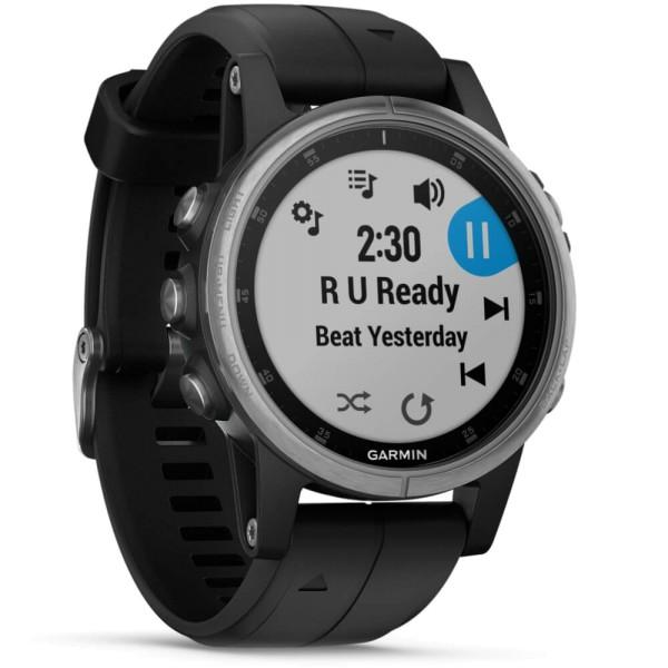 Garmin fenix5S Plus Silber GPS Multisportuhr mit schwarzem Armband bei CardioZone guenstig online kaufen