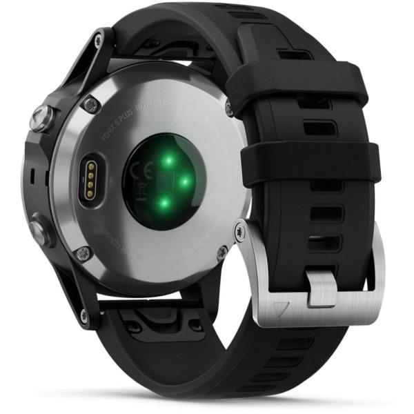 Garmin fenix5 Plus Silber GPS Multisportuhr mit schwarzem Armband bei CardioZone guenstig online kaufen