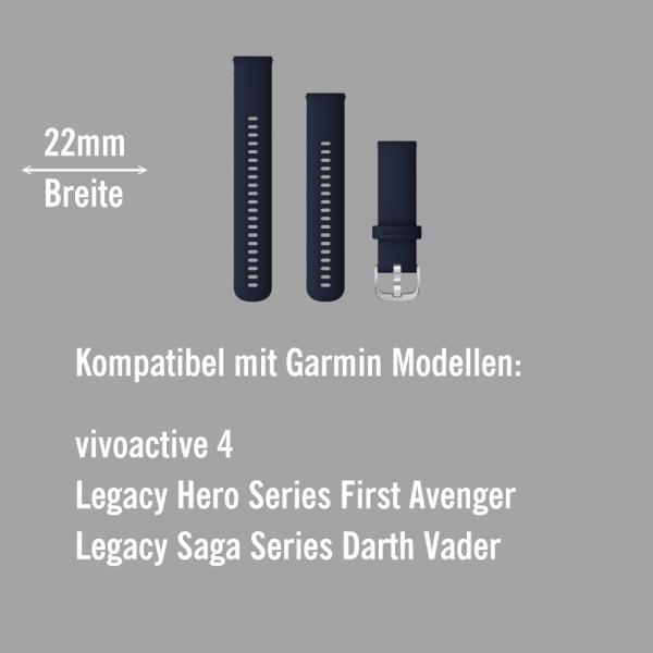 Garmin Schnell-Wechsel Silikon Armband 22mm Dunkelblau - Schnalle Silber bei CardioZone online kaufen