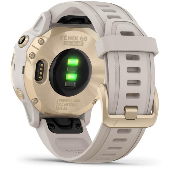 Garmin fenix6SPRO SOLAR Weißgold - Armband Beige bei CardioZone günstig online kaufen