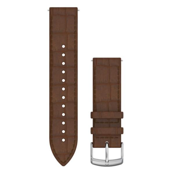 Garmin Schnell-Wechsel 20mm Leder-Armband Dunkelbraun mit Kroko-Prägung / Schnalle Silber  bei CardioZone günstig online kaufen