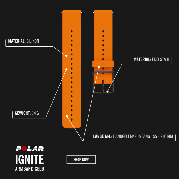 POLAR Ignite Silikon Armband Orange in Größe M/L bei CardioZone günstig online kaufen