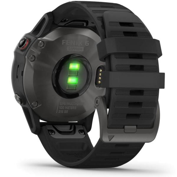 Garmin fenix6 SAPHIR Schiefergrau - Armband Schwarz bei CardioZone günstig online kaufen