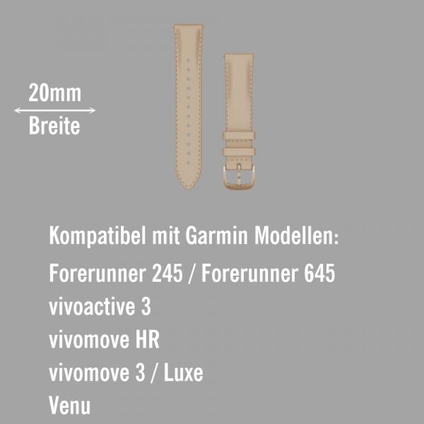 Garmin Schnell-Wechsel Leder Armband 20mm Sandfarben / Rosegold 18K-Gold-PVD-Teile bei CardioZone online kaufen