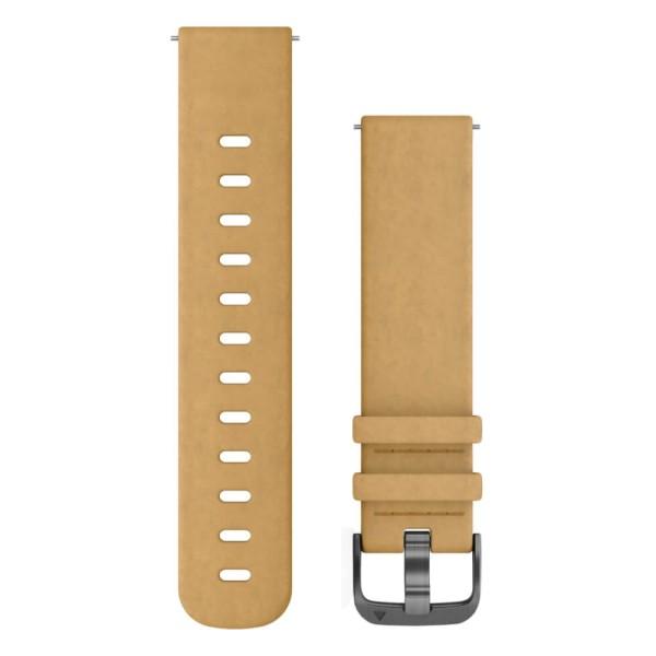 Garmin Schnell-Wechsel 20mm Leder-Armband Velourleder Hellbraun / Schnalle Schiefergrau bei CardioZone günstig online kaufen