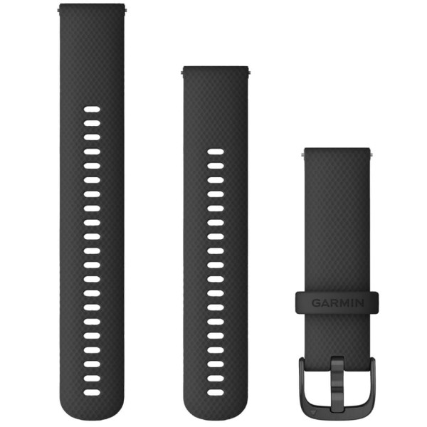 Garmin Schnell-Wechsel Silikon Armband 22mm Schwarz / Schnalle Schiefergrau + Einstellband L bei CardioZone online kaufen