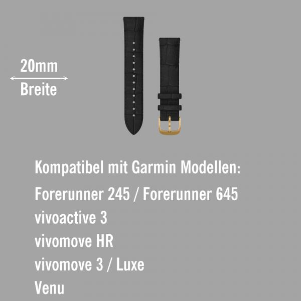 Garmin Schnell-Wechsel Leder Armband 20mm Schwarz geprägt / 24K-Gold-PVD-Teile bei CardioZone online kaufen