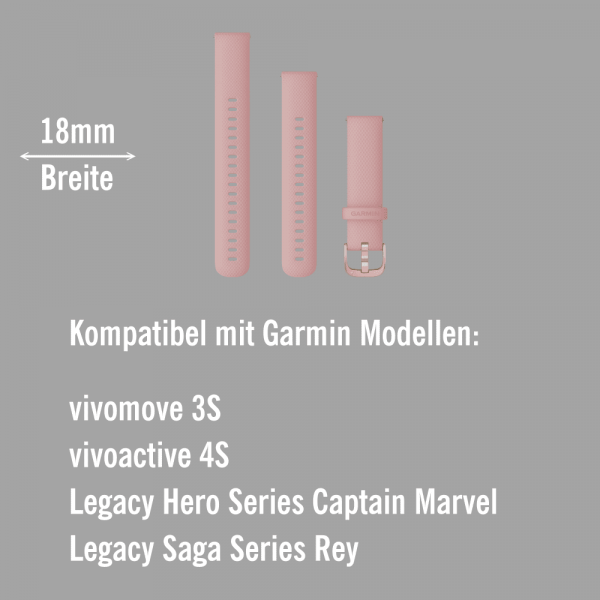 Garmin Schnell-Wechsel Silikon Armband 18mm Altrosa / Schnalle Hellgold + Einstellband L bei CardioZone online kaufen