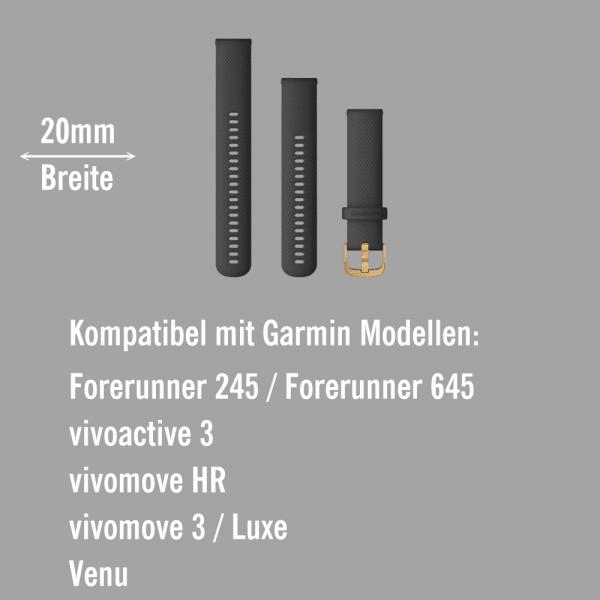 Garmin Schnell-Wechsel Silikon Armband 20mm Schwarz / Schnalle Goldfarben + Einstellband L bei CardioZone online kaufen