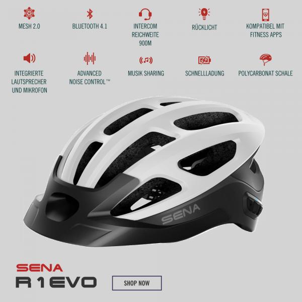 Sena R1 Evo Fahrradhelm mit Mesh Intercom Matte White/Weiss bei CardioZone günstig online kaufen
