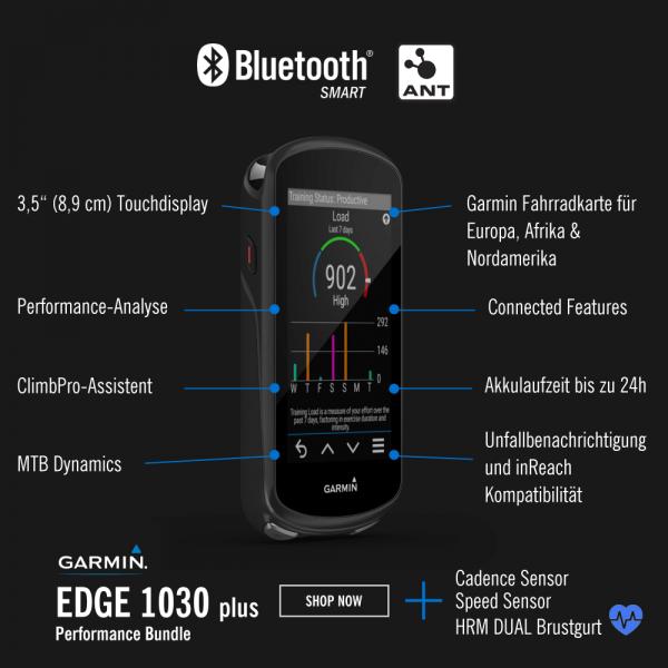 Garmin Edge1030 Plus GPS Radcomputer Bundle mit Brustgurt und Sensoren bei CardioZone günstig online kaufen