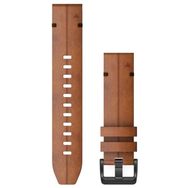 Garmin Quickfit 22mm Leder-Armband Braun / Schnalle in Schiefergrau für fenix 6 bei CardioZone günstig online kaufen