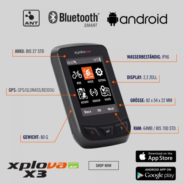 Xplova X3 GPS Fahrradcomputer mit Farbdispay und Navigation bei CardioZone günstig online kaufen