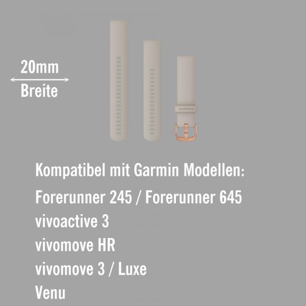Garmin Schnell-Wechsel Silikon Armband 20mm Sandfarben / Schnalle Rosegold + Einstellband L bei CardioZone online kaufen
