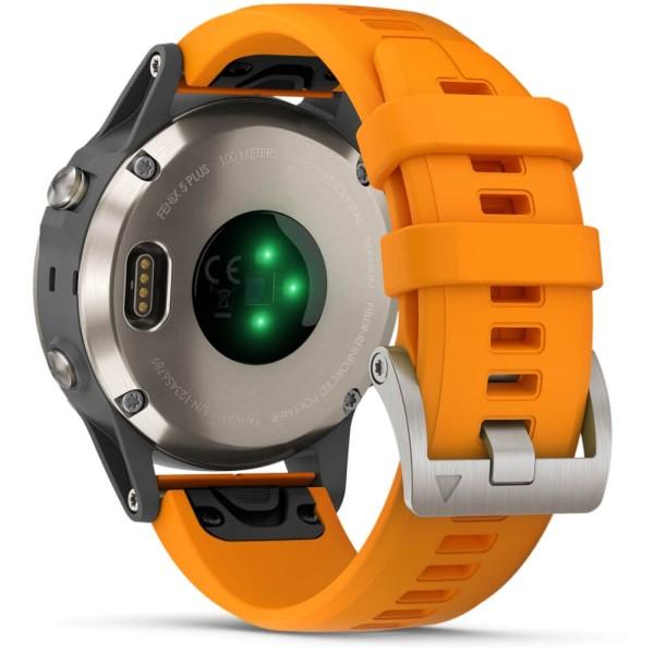 Garmin fenix5 Plus Saphir Titan GPS Multisportuhr mit orangefarbenem Armband bei CardioZone guenstig online kaufen