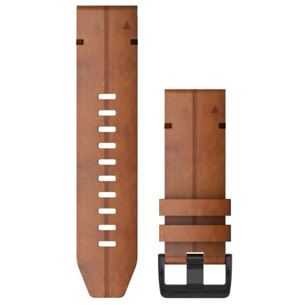 Garmin Quickfit 26mm Leder-Armband Braun / Schnalle in Schiefergrau für fenix 6X bei CardioZone günstig online kaufen
