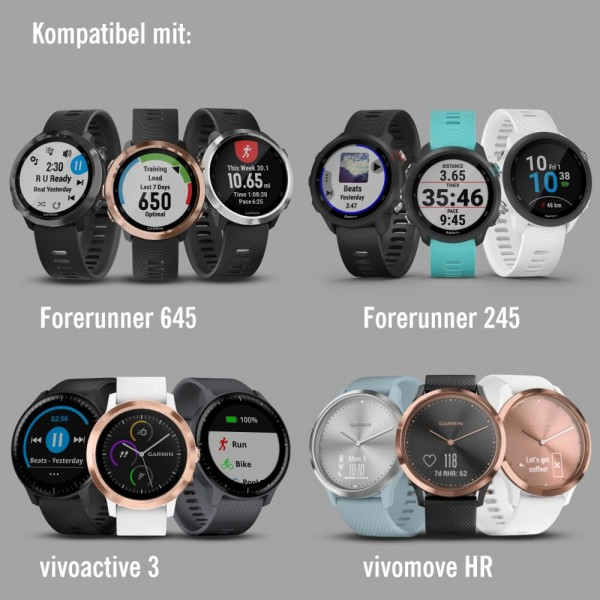 Garmin Schnell-Wechsel 20mm Silikon-Armband Schwarz / Schnalle Schiefergrau bei CardioZone günstig online kaufen