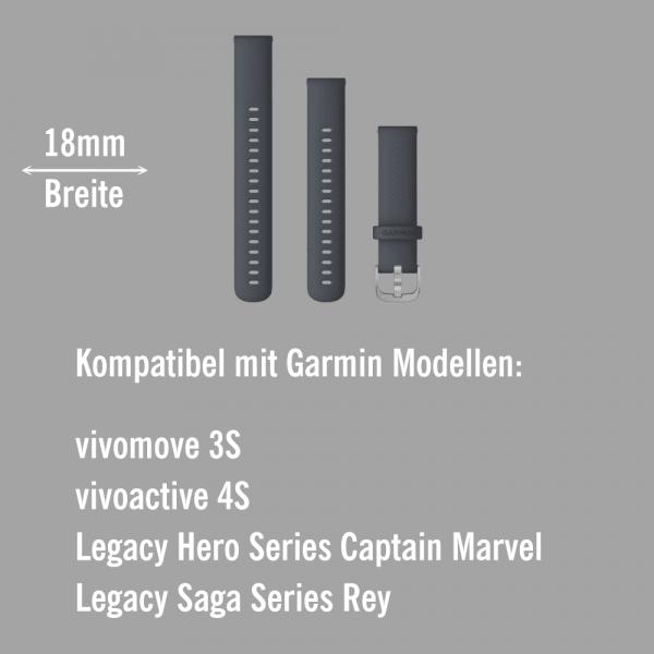 Garmin Schnell-Wechsel Silikon Armband 18mm Granitblau / Schnalle Silber + Einstellband L bei CardioZone online kaufen