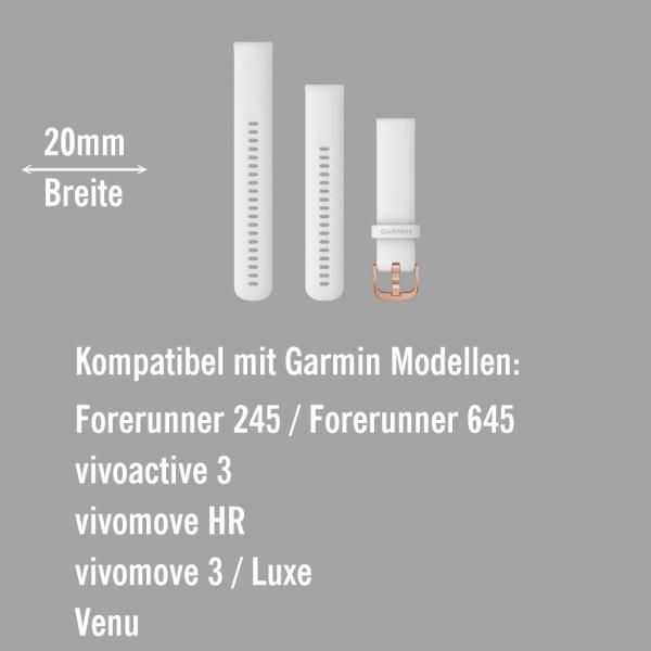 Garmin Schnell-Wechsel Silikon Armband 20mm Weiss / Schnalle Rosegold + Einstellband L bei CardioZone online kaufen