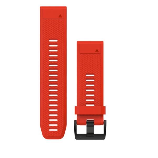 Garmin Quickfit 26mm Silikon-Armband Leuchtrot / Schnalle in Schwarz