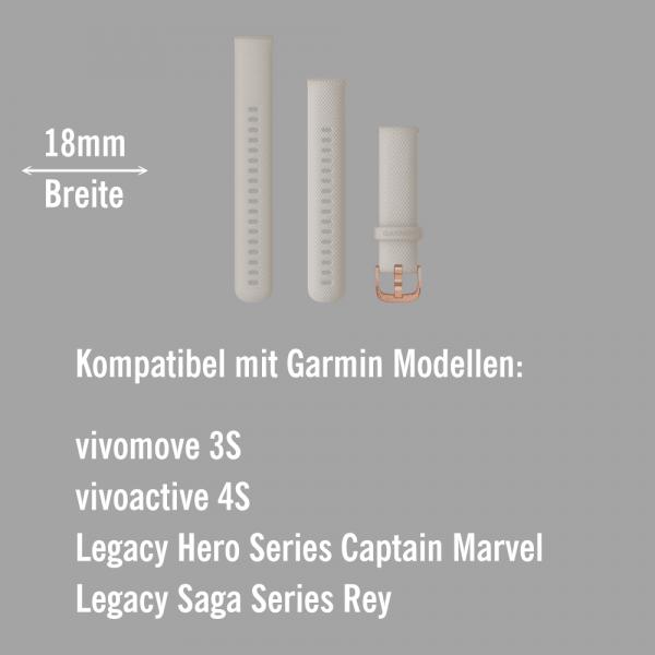 Garmin Schnell-Wechsel Silikon Armband 18mm Sandfarben / Schnalle Rosegold + Einstellband L bei CardioZone online kaufen