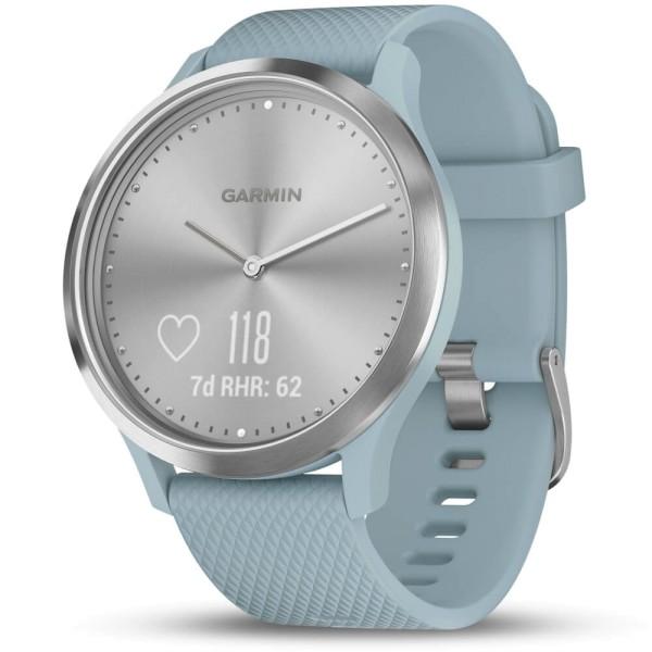 Garmin vivomove HR Azurblau/ Silber Sport Smartwatch im analogen Uhrendesign bei CardioZone günstig online kaufen
