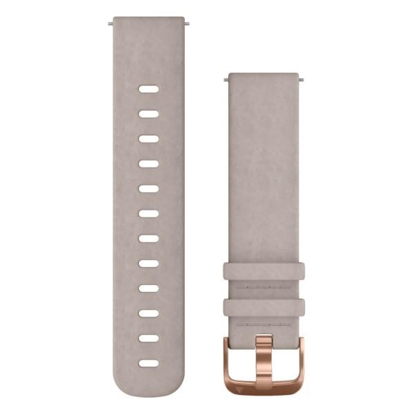Schnellwechsel-Armband 20mm Leder-Armband Grau / Schnalle Rosegold bei CardioZone günstig online kaufen