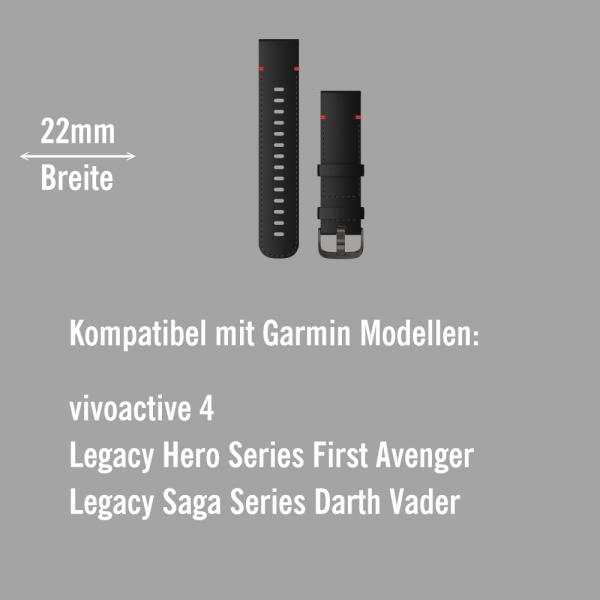 Garmin Schnell-Wechsel Leder Armband 22mm Schwarz - mit Naht Schnalle Schiefergrau bei CardioZone online kaufen