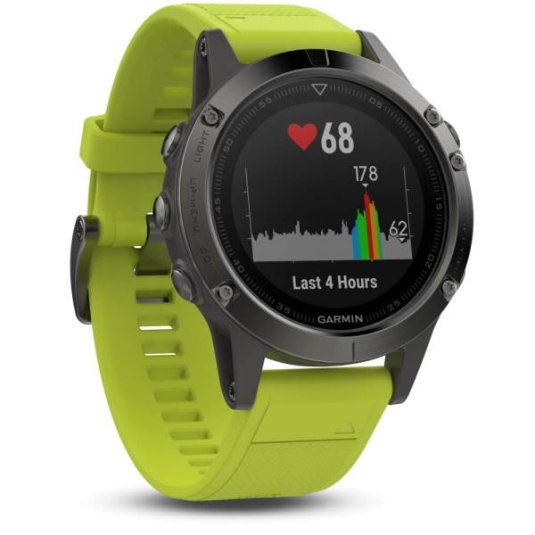 Garmin fēnix 5 Multisportuhr Grau mit Armband in gelb bei CardioZone guenstig online kaufen