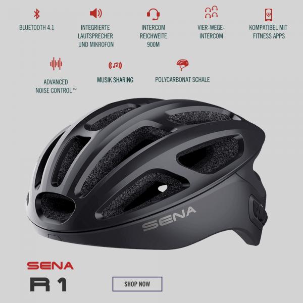 Sena R1 Smart Cycling Fahrradhelm in Onyx Black /Schwarz mit Bluetooth Tour Kommunikation, Smartphone-Kopplung und FM Radio im Onlineshop günstig online kaufen