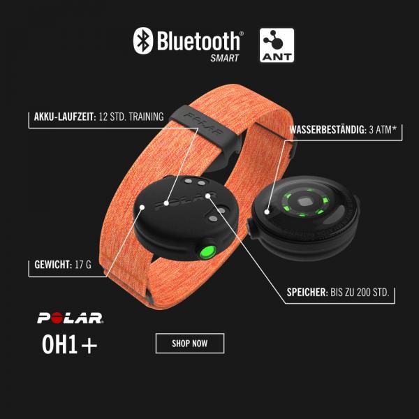 POLAR OH1+ optischer Puls-Sensor in Orange für alle Sportarten bei CardioZone günstig online kaufen