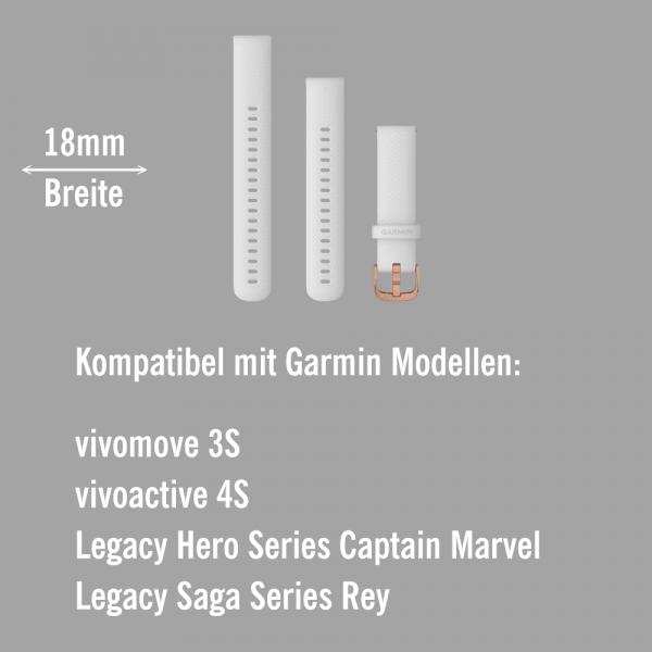 Garmin Schnell-Wechsel Silikon Armband 18mm Weiss / Rosegold + Einstellband L bei CardioZone online kaufen