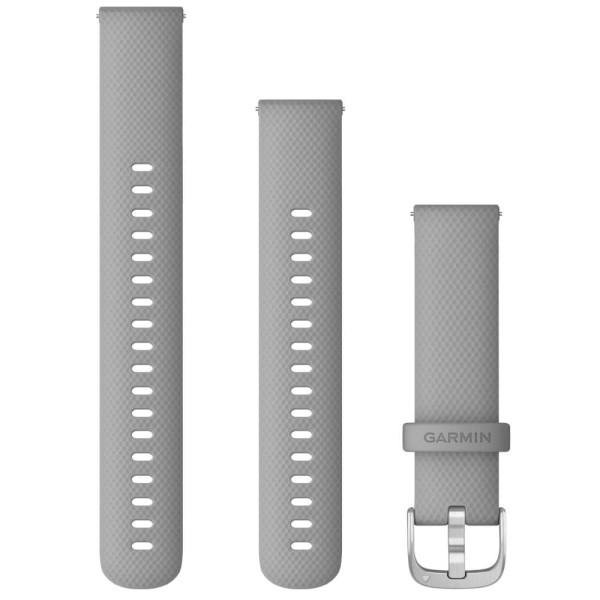 Garmin Schnell-Wechsel Silikon Armband 18mm Hellgrau / Schnalle Silber + Einstellband L bei CardioZone online kaufen