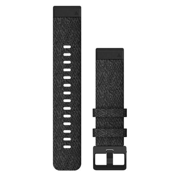 Garmin Quickfit Nylon Armband 20mm Schwarz  /Gesprenkelt Schnalle in Schiefergrau für fenix 6S bei CardioZone günstig online kaufen