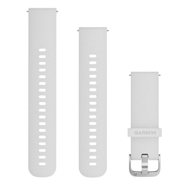 Garmin Schnell-Wechsel 20mm Silikon Armband Weiss / Schnalle in Silber bei CardioZone günstig online kaufen