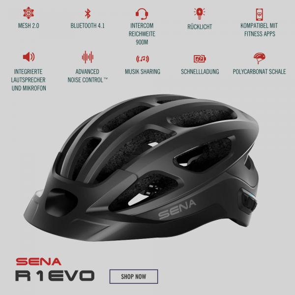 Sena R1 Evo Fahrradhelm mit Mesh Intercom Matte Black/Schwarz bei CardioZone günstig online kaufen