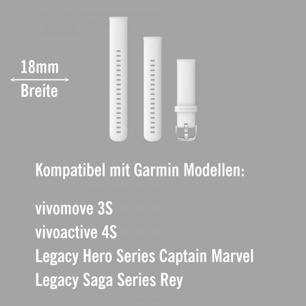 Garmin Schnell-Wechsel Silikon Armband 18mm Weiss - Schnalle Silber bei CardioZone online kaufen