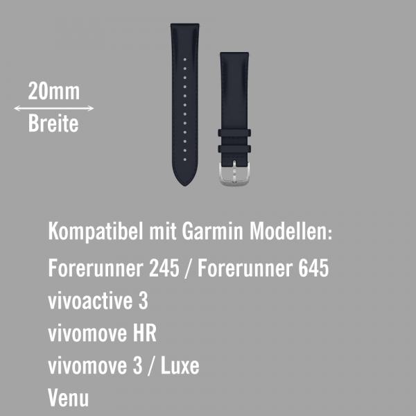 Garmin Schnell-Wechsel Leder Armband 20mm Navyblau geprägt / Schnalle Silber bei CardioZone online kaufen