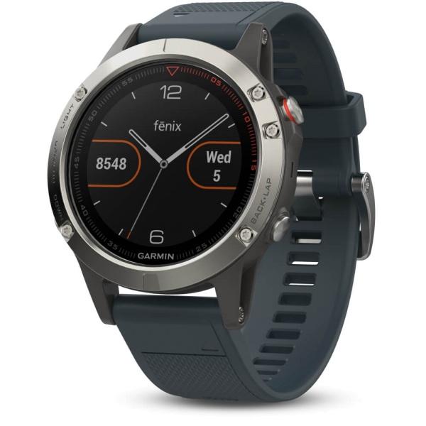 Garmin fēnix 5 Multisportuhr Silber mit Armband in blau bei CardioZone guenstig online kaufen