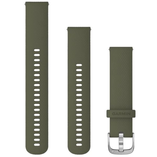 Garmin Schnell-Wechsel Silikon Armband 20mm Moosgrün / Schnalle Silber + Einstellband L bei CardioZone online kaufen