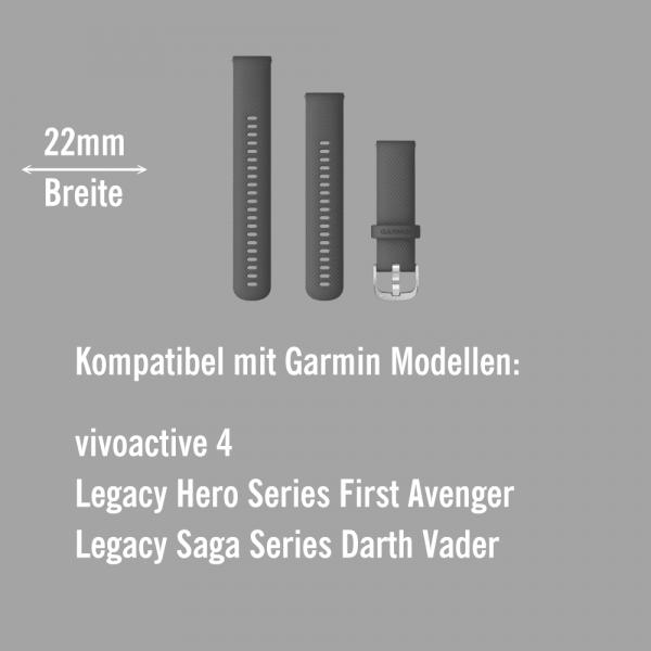 Garmin Schnell-Wechsel Silikon Armband 22mm Mittelgrau / Schnalle Silber + Einstellband L bei CardioZone online kaufen