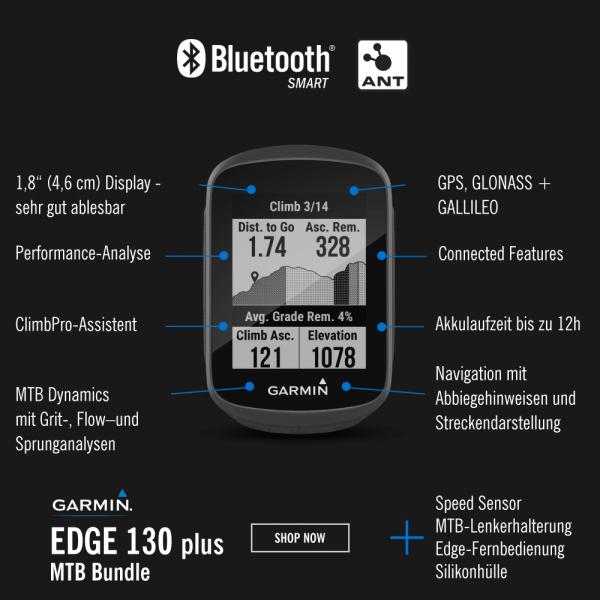 Garmin Edge130 Plus MTB Bundle mit Sensor und Zubehör bei CardioZone günstig online kaufen