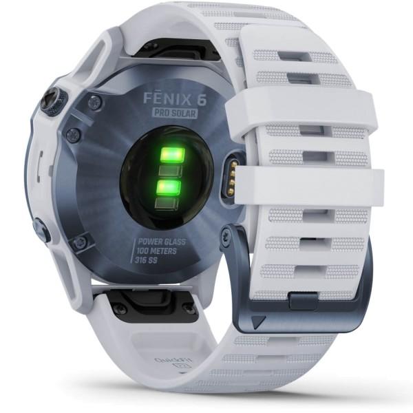 Garmin fenix6PRO SOLAR Titan DLC Blau - Armband Steinweiss bei CardioZone günstig online kaufen