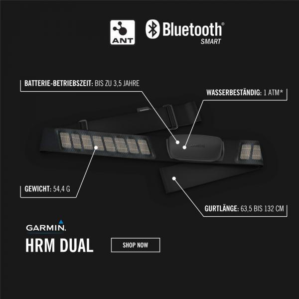 Garmin HRM Dual Textil Herzfrequenz Sender mit ANT+ und Bluetooth Smart bei CardioZone günstig online kaufen