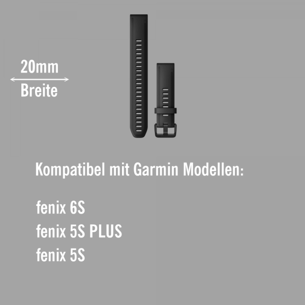 Garmin Quickfit Silikon Armband 20mm Schwarz / Schiefergrau Gr. L für fenix 6S bei CardioZone online kaufen